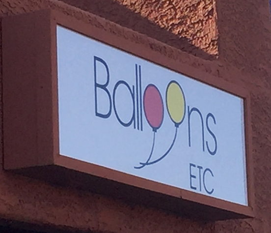 Balloons Etc translucent sign